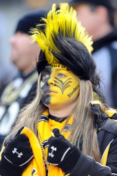 Bob Donaldson / Post-Gazette Photo made Saturday, January 15, 2011 Steelers fan Elizabeth Vickers of Ft. Myers, Fla., in the stands before the Steelers-Ravens playoff game at Heinz Field. Writer: none. Story slug: unknown.   Original Filename: rad_011511_L_3_Steelers.jpg